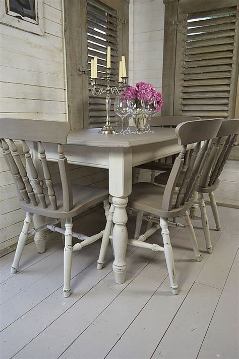 grey white shabby chic dining table with 4 chairs artwork furniture ideas pinterest