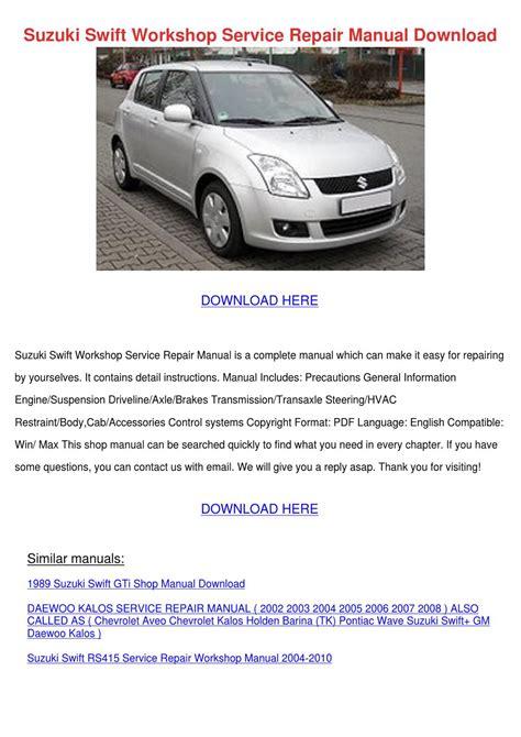 buy car manuals 1996 suzuki swift transmission control suzuki swift workshop service repair manual d by anastasiaward issuu