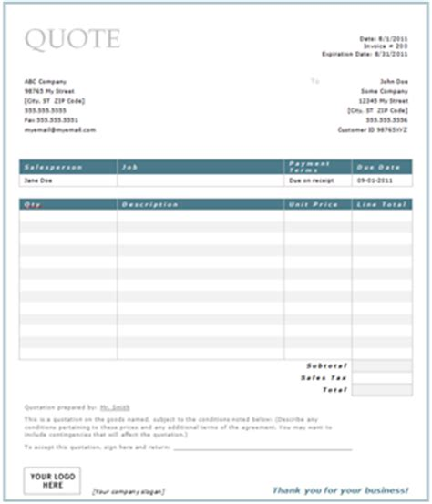 quote estimate template service quote template word