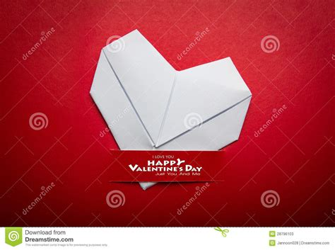 Origami Valentines Day - origami paper shape symbol for valentines day stock