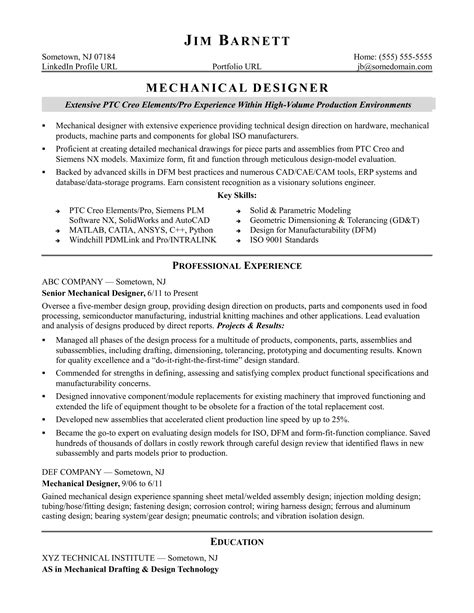 Experienced Resume by Sle Resume For An Experienced Mechanical Designer