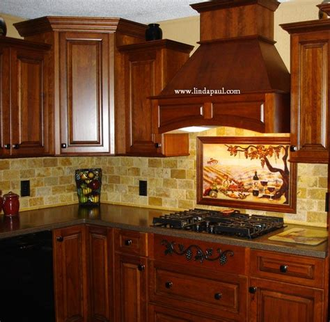 kitchen cabinets with backsplash the vineyard tile murals tuscan wine tiles kitchen backsplashes