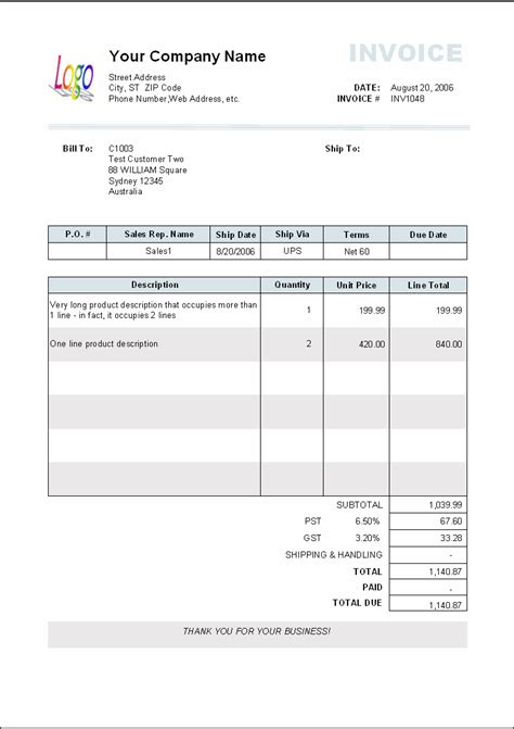 invoice template sle invoice template product description