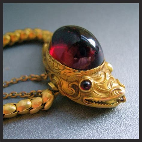 Snake Cobra Bracelet 1901 Jewelry antique carbuncle garnet snake serpent 14k gold