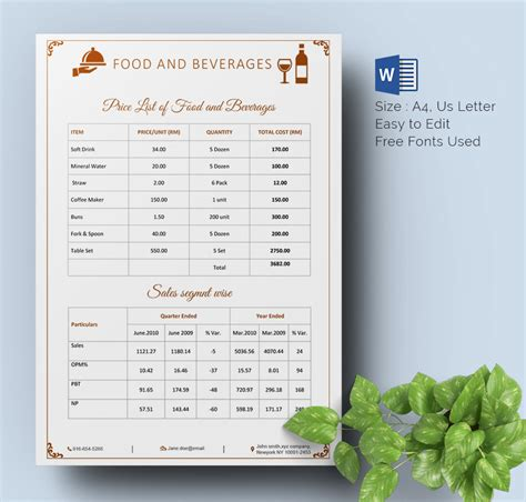 coffee price list template 25 price list templates doc pdf excel psd free