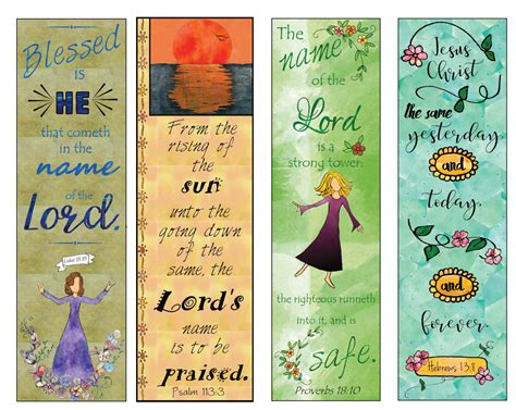 printable bookmarks with names bible verse bookmarks on the name of the lord diy full color