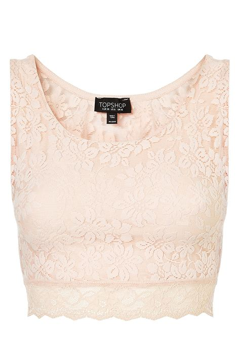 Top Shoo topshop lace crop top in pink blush lyst