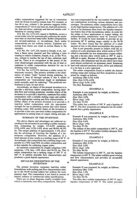 Plumbing Solder Composition brevetto us4670217 solder composition brevetti