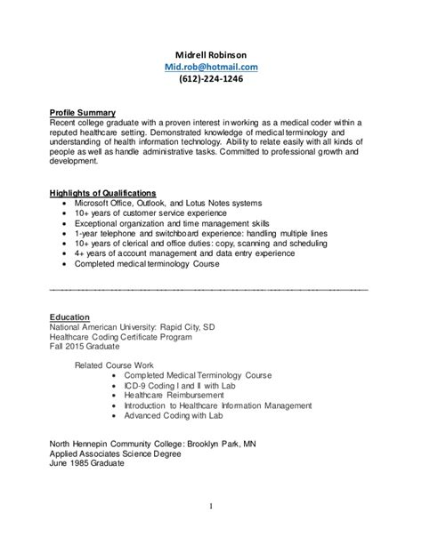 medical coding resume for fresher rimouskois job resumes