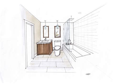 how to draw bathroom design