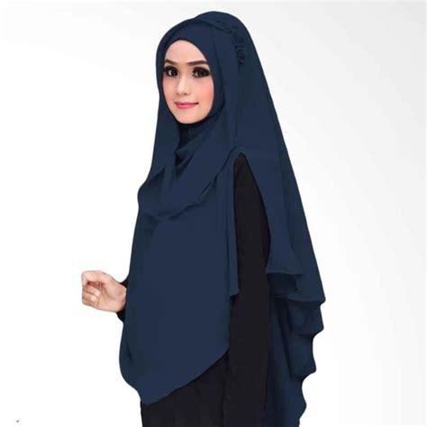 Jilbab Instan Oki Jual Kus Oki Panjang Kerudung Syar I Navy
