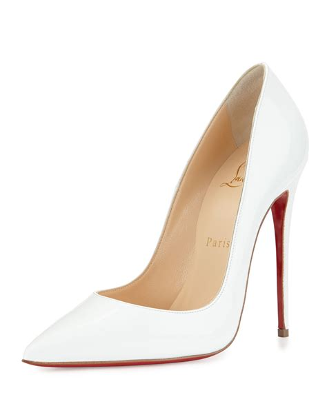 white pumps shoes lyst christian louboutin so kate patent 120mm sole