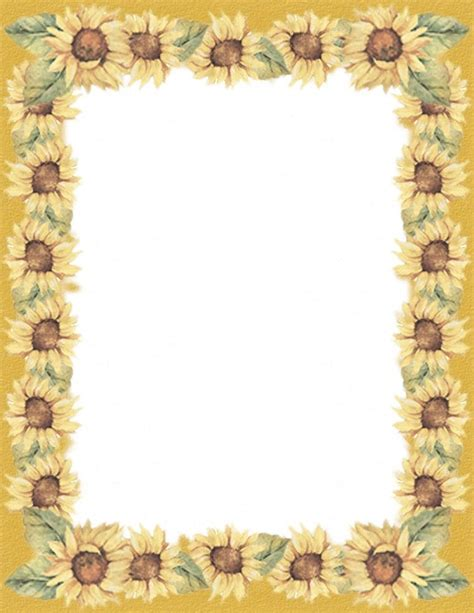 Sunflowers Border Stationery Printer Paper 26 Sheets Ebay Sunflower Stationery Template