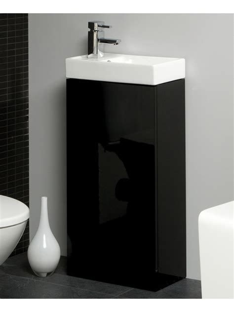 space 40cm black floor standing unit amp cloakroom basin