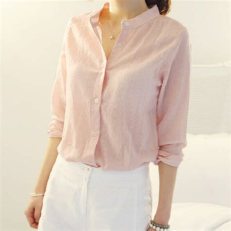 Simple Pink Top pink sleeve shirt fashion simple preppy style tops autumn design chemise femme 2015