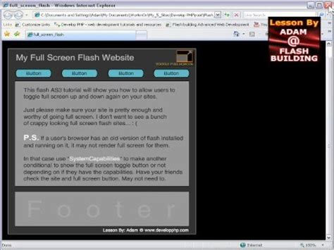 website tutorial youtube full screen flash as3 website tutorial retain stage size
