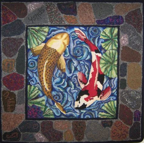 koi fish rug items similar to koi fish hooked rug on etsy