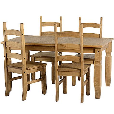 corona 5ft dining table and 4 chairs solid wood waxed