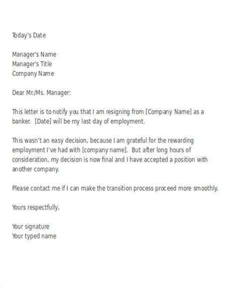 Bank Hr Letter 38 Resignation Letter Format Free Premium Templates
