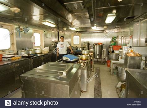 Kitchen Engine by Galley Kitchen Of Container Ship With Crew Chef Smiling