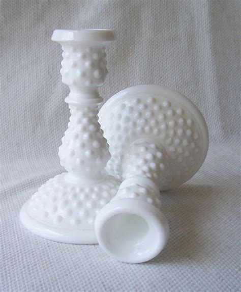 vintage white hobnail milk glass l vintage fenton white milk glass hobnail candle holder set