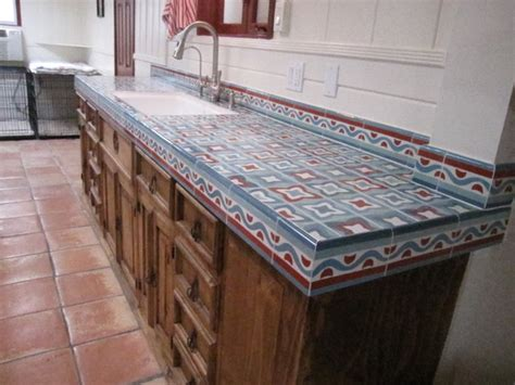 tiled bench tops rustic kitchen counter mediterranean orange county