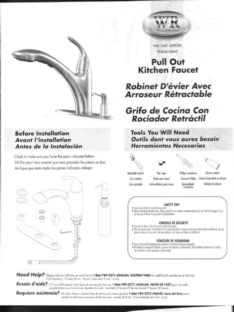 water ridge kitchen faucet manual fp4a4106np kitchen faucet parts list water ridge