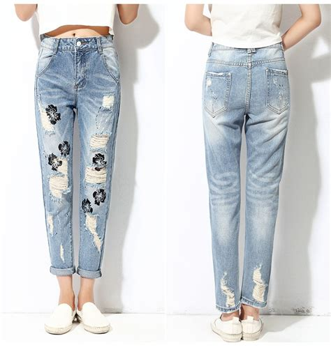 ripped pattern jeans 2017 ladies jeans top design rose pattern ripped denim
