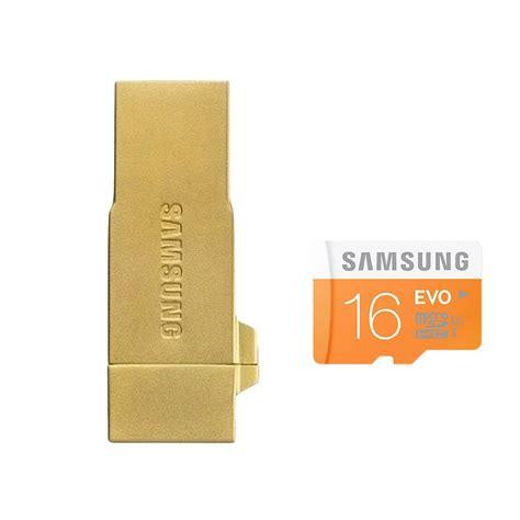 Samsung Metal Otg Card Reader With Evo Microsdhc 32gb Baru jual samsung otg metal memory card gold free micro