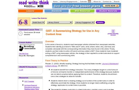 gist summary template gist a summarizing strategy for use in any content area