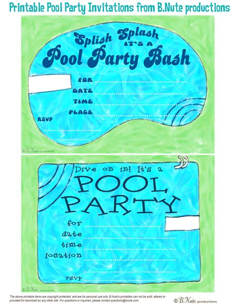 bnute productions free printable pool party invitations