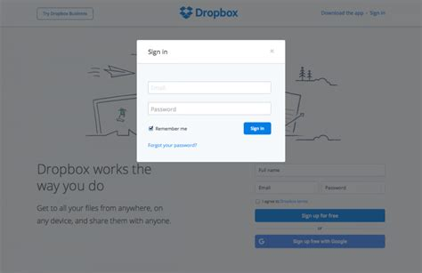 dropbox login page login form page dropbox find saas websites inspiration