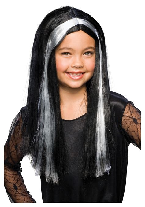 black hair with grey streaks on black black and grey child witch wig
