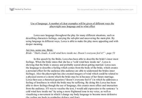 blood wedding full text b00xtazhns use of language blood wedding a level drama marked by teachers com