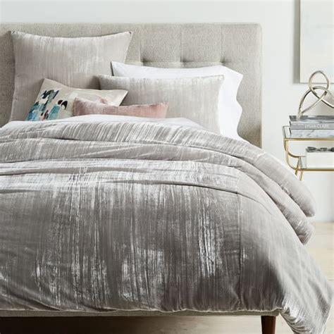 h and m bedding crinkle velvet duvet cover shams platinum west elm