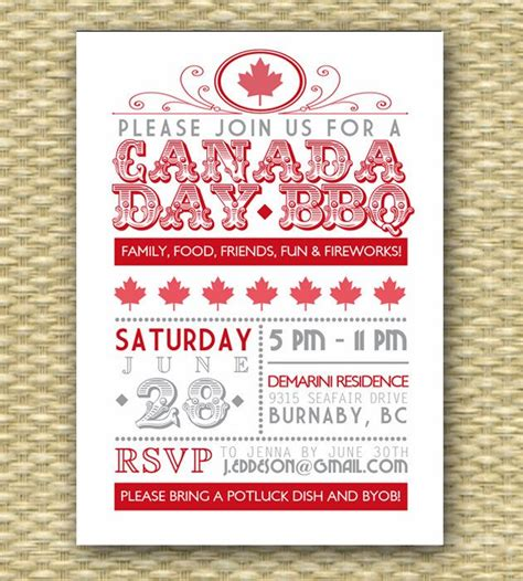 Invitation Letter Mcmaster canada day bbq design illustration letters