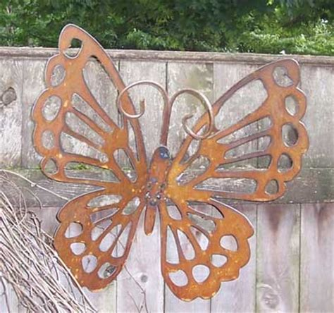 decorative rustic butterfly garden stake