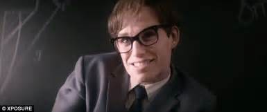 actor with thick rimmed glasses eddie redmayne as stephen hawking in theory of everything
