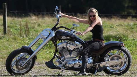 Chopper Motorrad Schwarz by Woman Motorbike Black Forest Germany Hd Stock