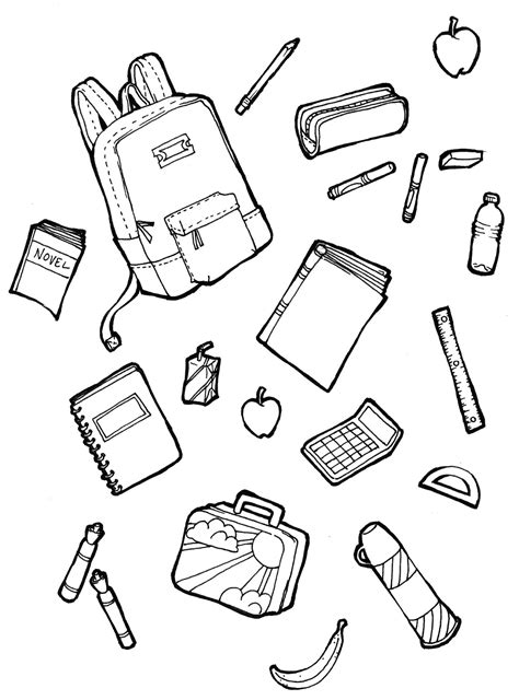 free coloring pages school supplies school supplies coloring page coloring page pedia