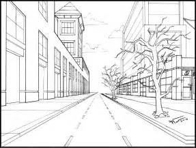 One Point Perspective Street Drawing Sketch Coloring Page sketch template