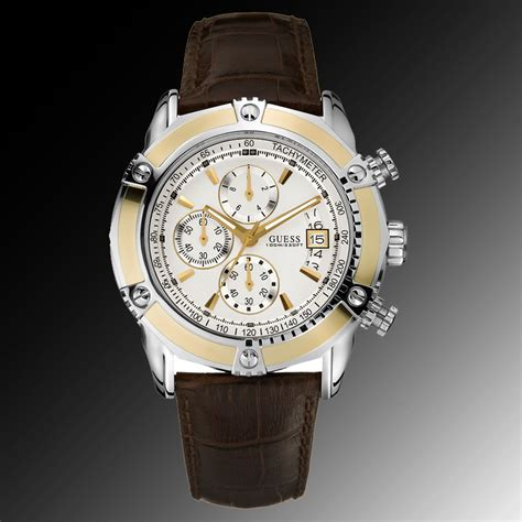 Gc G3000 Gold White Leather guess watches brown leather