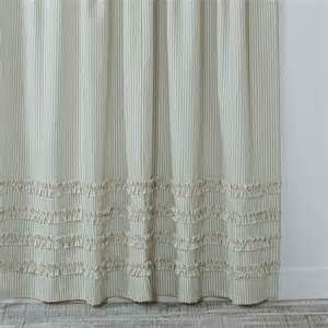 grey ruffle shower curtain ruffled ticking stripe shower curtain daniel dry goods
