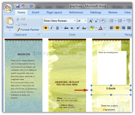 Create Brochure In Word 2007 Or 2010 Make Brochure Microsoft Word Booklet Template Microsoft Word 2007