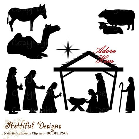 printable nativity scene animals christmas nativity silhouette clip art for commercial use