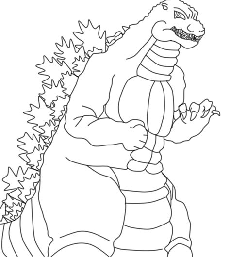 heisei godzilla lineart by 1lovedrew on deviantart