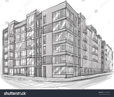 3d building drawing architecture sketch drawing buildingcity stock vector