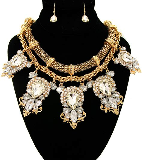 gold statement necklace big gold necklace