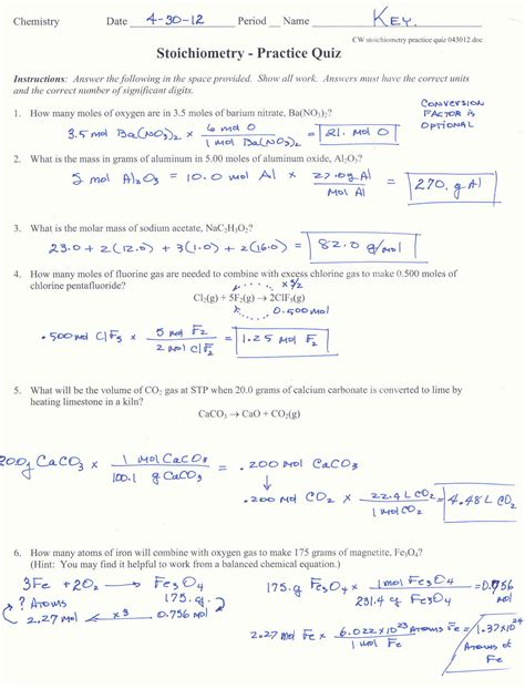Stoichiometry Worksheet Answers by C7chemistry What S Happening Spr 2012