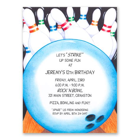 bowling birthday card template bowling invitations templates ideas bowling